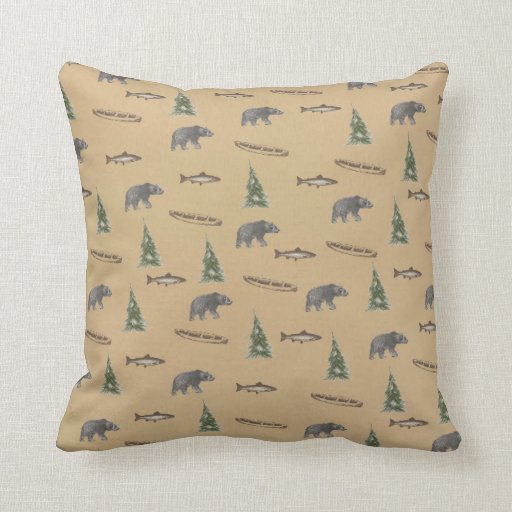 Woodland Forest Rustic Bear Fish Tree Print Pillow