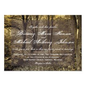 Woodland Forest Trees Rustic Wedding Invitations 4.5