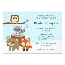 Woodland Forest Winter Baby Shower Invitations