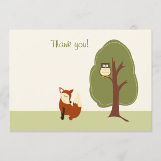 Woodland Fox and Owl Flat Thank You notes