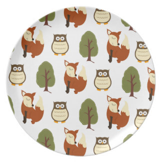 Woodland Fox and Owl Nature Plate - White