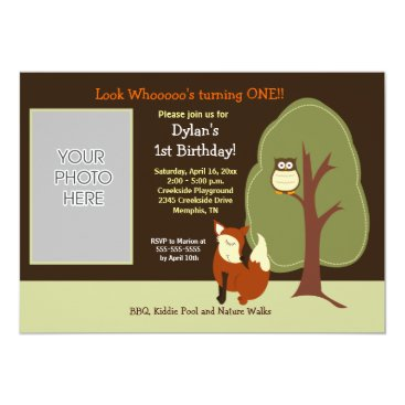 Woodland Fox and Owl *PHOTO* Birthday 5x7 Personalized Announcement