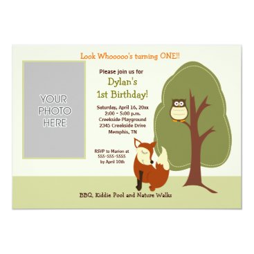 Woodland Fox and Owl *PHOTO* Birthday 5x7 Announcement