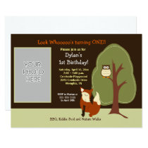 Woodland Fox and Owl Photo Birthday Invite