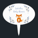 "Woodland Fox Baby Shower Cake Topper<br><div class=""desc"">A cute personalized cake topper for a woodland themed baby shower. A wide array of other cake toppers and products are available at my store.</div>"