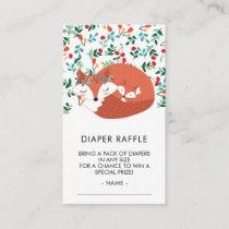 Woodland Fox Baby Shower Diaper Raffle Ticket Enclosure Card