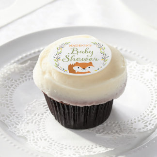 Woodland Fox Baby Shower Edible Frosting Rounds