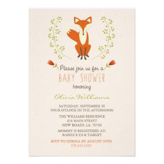 Woodland Fox Baby Shower Invitations