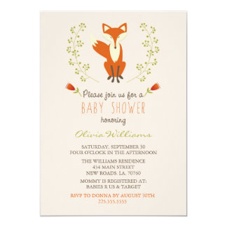 Woodland Fox Baby Shower Invitations