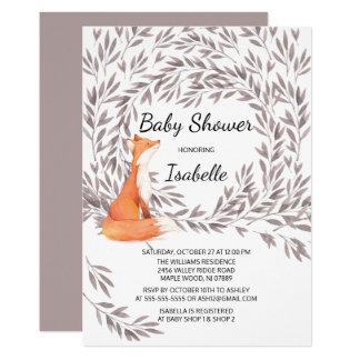 Woodland Fox Baby Shower Invite