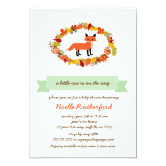 "Woodland Fox Baby Shower Invites / bright forest 5"" X 7"" Invitation Card"