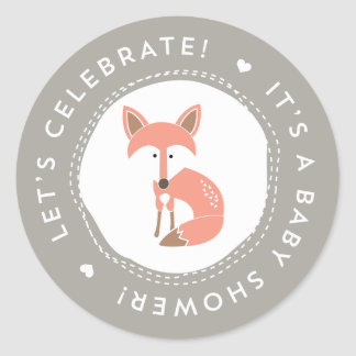 Woodland Fox Baby Shower Stickers