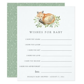 Woodland Fox Baby Shower Wishes Card