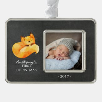Woodland Fox Baby's 1st Christmas Photo Ornament