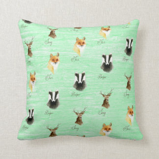 Woodland fox badger stag deer print hipster foxes throw pillow