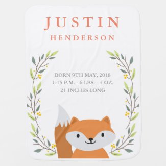 Woodland Fox Birth Announcement Baby Blanket