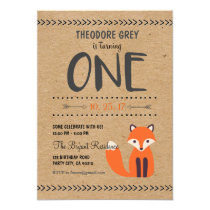 Woodland Fox Chevron Boy First Birthday invitation