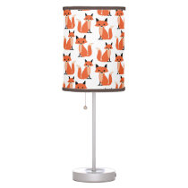 Woodland fox cute retro whimsical hipster foxes desk lamp