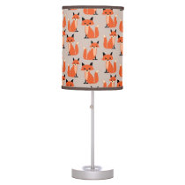 Woodland fox cute retro whimsical hipster foxes table lamp