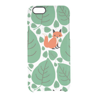Woodland fox cute whimsical hipster foxes clear clear iPhone 6/6S case