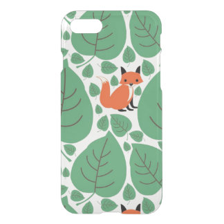 Woodland fox cute whimsical hipster foxes clear iPhone 7 case