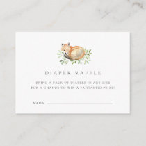 Woodland Fox Diaper Raffle Ticket Cards