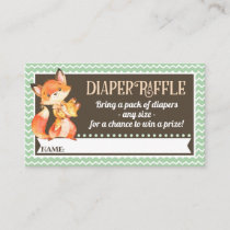 Woodland Fox Diaper Raffle Tickets Enclosure Card
