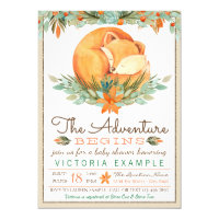 Woodland Fox Fall Autumn Baby Shower Invitations