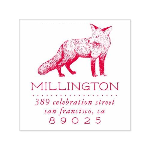 Woodland Fox Family Name Return Address Self_inking Stamp