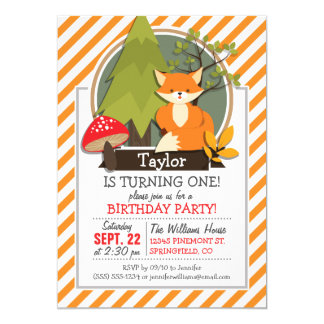 Woodland Fox; Orange and White Stripes Card