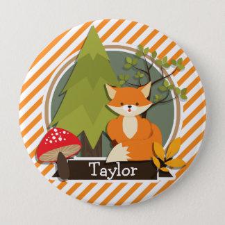 Woodland Fox; Orange and White Stripes Pinback Button
