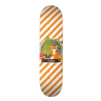 Woodland Fox; Orange and White Stripes Skateboard