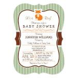 Woodland Fox; Orange, Sage, Brown Baby Shower 5x7 Paper Invitation Card