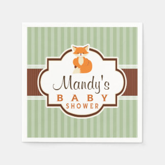 Woodland Fox; Orange, Sage, Brown Baby Shower Paper Napkin