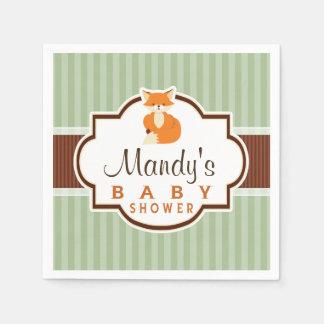 Woodland Fox; Orange, Sage, Brown Baby Shower Standard Cocktail Napkin