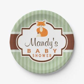 Woodland Fox; Orange, Sage, Brown Baby Shower Paper Plate