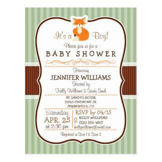 Woodland Fox; Orange, Sage, Brown Baby Shower Postcard