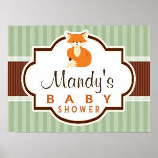 Woodland Fox; Orange, Sage, Brown Baby Shower Poster