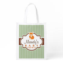 Woodland Fox; Orange, Sage, Brown Baby Shower Reusable Grocery Bag