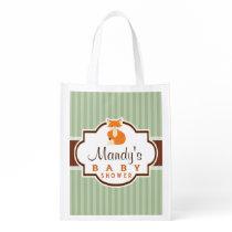 Woodland Fox; Orange, Sage, Brown Baby Shower Reusable Grocery Bag