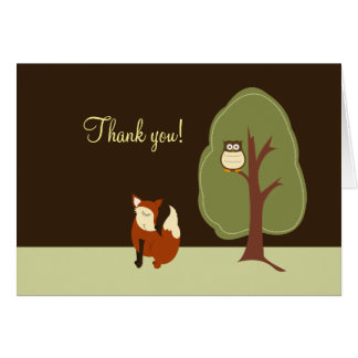 Woodland Fox & Owl Folded Thank you notes Stationery Note Card