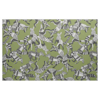 woodland fox party green fabric