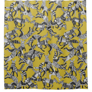 woodland fox party ochre yellow shower curtain