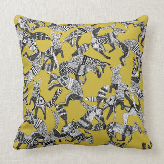 woodland fox party ochre yellow throw pillow