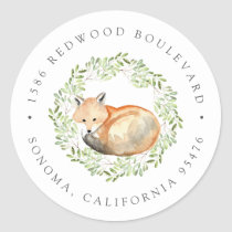 Woodland Fox Return Address Classic Round Sticker