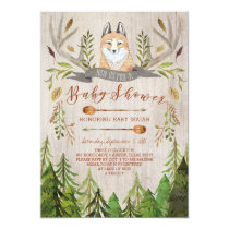 Woodland Fox Rustic Baby Shower Invitations