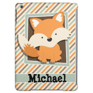 Woodland Fox; Sage Green, Orange, Brown Stripes Cover For iPad Air