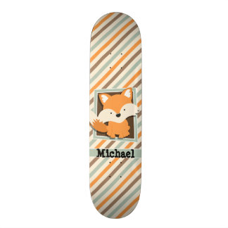Woodland Fox; Sage Green, Orange, Brown Stripes Custom Skate Board