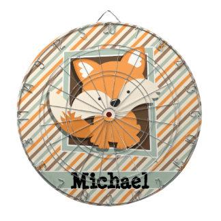 Woodland Fox; Sage Green, Orange, Brown Stripes Dartboard With Darts