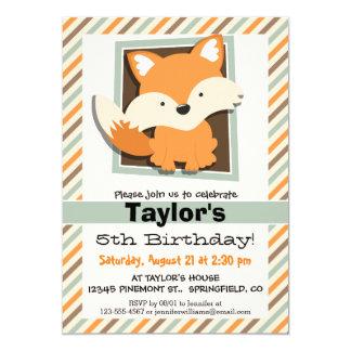 Woodland Fox; Sage Green, Orange, Brown Stripes 5x7 Paper Invitation Card